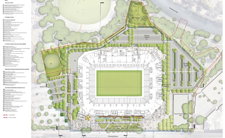 Aerial view of the Masterplan for Stadium and surrounds