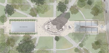 Aerial view of the memorial and gardens