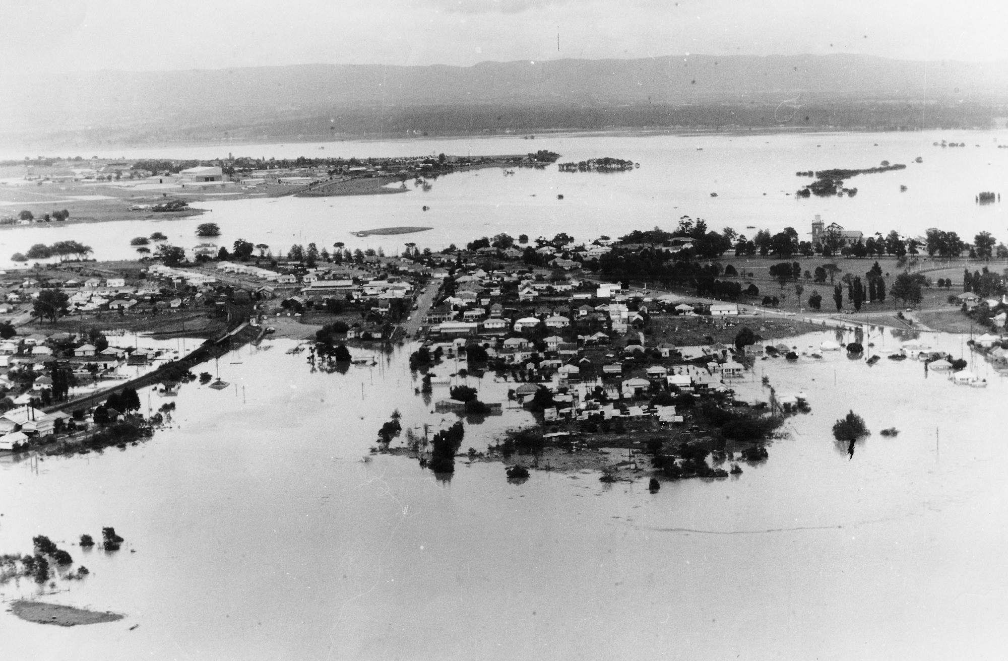 Aerial view of 1961 flood in Windsor