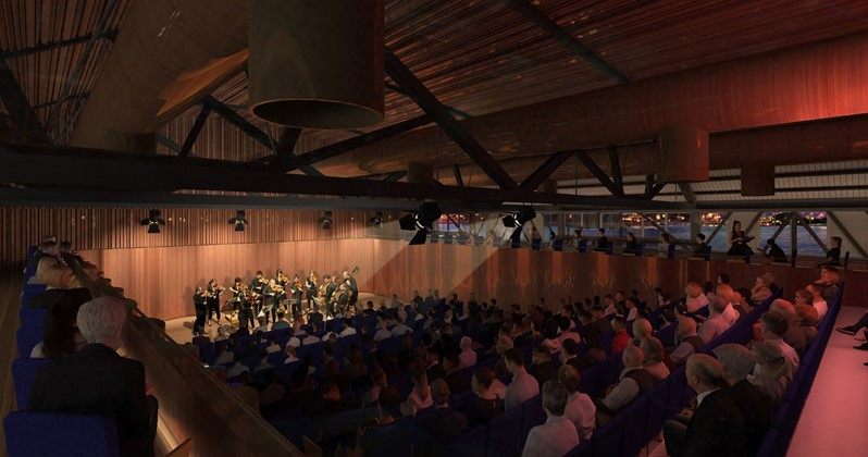 Auditorium with Orchestra playing to audience